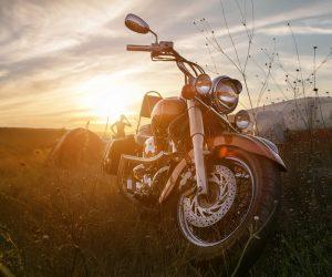 夕日とバイク
